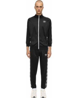 Prążkowany czarny garnitur z nylonu Umbro