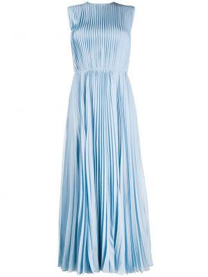 Синее шелковое платье макси с вырезом без рукавов Emilio Pucci