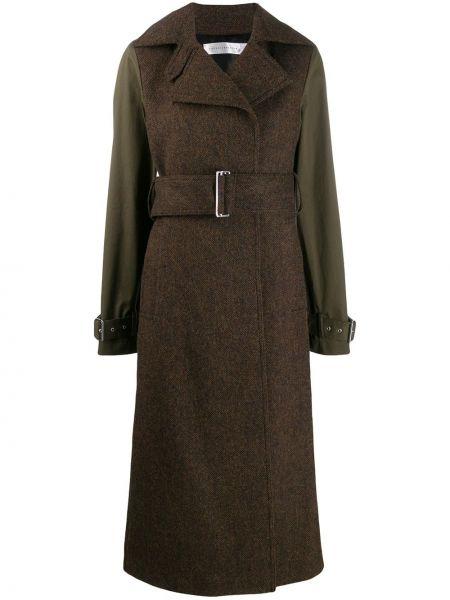 Коричневое шерстяное длинное пальто с капюшоном Victoria Beckham