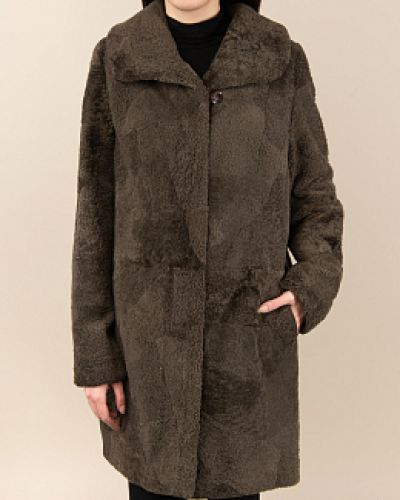 Пальто из овчины - зеленое Dzhanbekoff