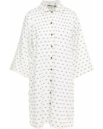 Шелковое белое платье мини с карманами Mcq Alexander Mcqueen