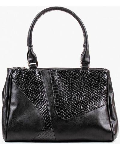 Кожаная сумка черная из искусственной кожи медведково