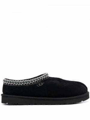 Кожаные тапочки - черные Ugg
