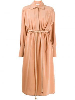 С рукавами шелковое платье миди на пуговицах с воротником Fendi
