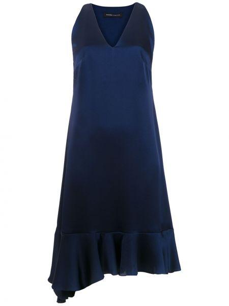 Синее прямое платье с V-образным вырезом без рукавов Gloria Coelho