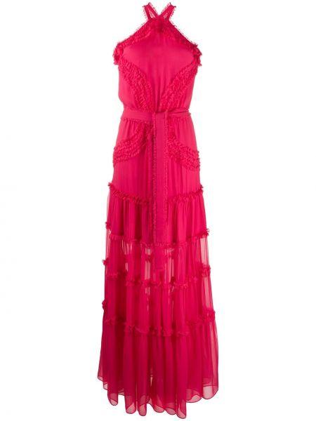 Расклешенное шелковое розовое платье макси с вышивкой Alexis