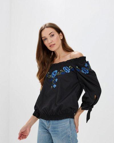 Блузка с открытыми плечами весенний черная Ricamare
