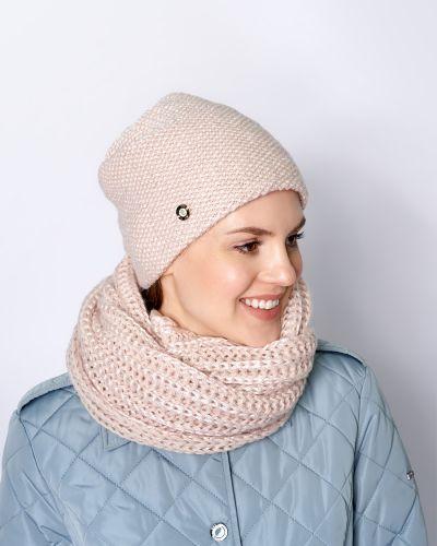 Розовый шерстяной шарф с капюшоном Baon