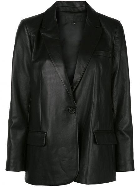 Однобортный черный кожаный короткая куртка Nili Lotan