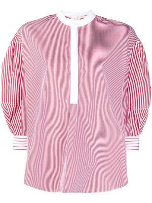 Красная блузка в полоску с вырезом Alexander Mcqueen