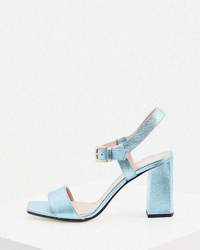 Кожаные босоножки - голубые Pollini