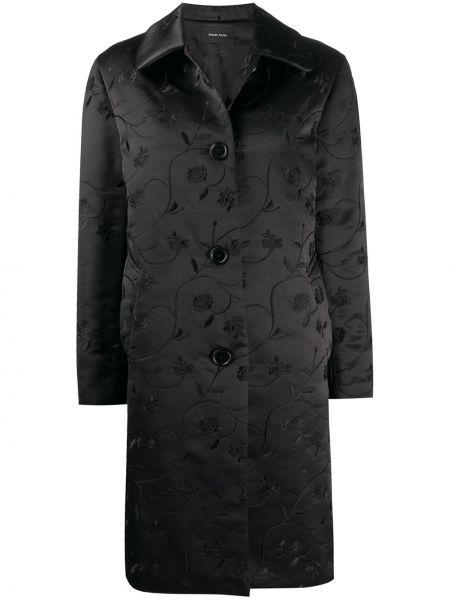 Klasyczny czarny płaszcz z wiskozy Simone Rocha