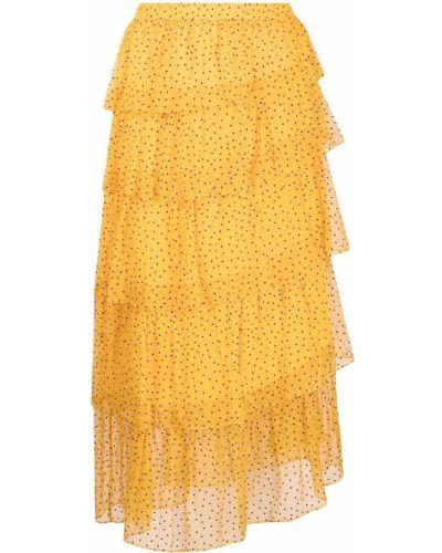 С завышенной талией желтая юбка с оборками Sandro Paris