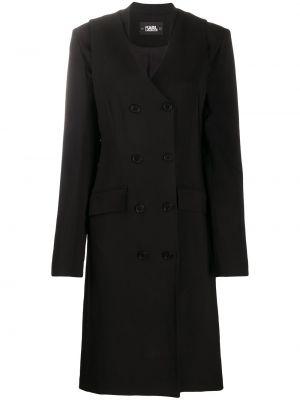 Черное длинное пальто двубортное с карманами Karl Lagerfeld