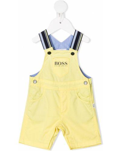 Хлопковый желтый комбинезон с карманами Boss Kidswear