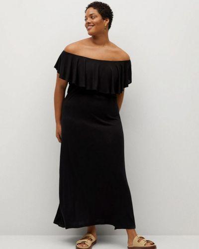 Черное платье со спущенными плечами Violeta By Mango