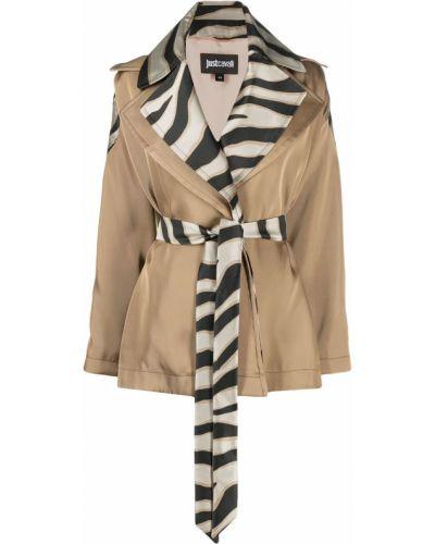 Czarny długi płaszcz z wiskozy z długimi rękawami Just Cavalli