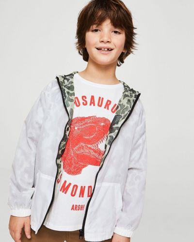 Куртка белая в клетку Mango Kids
