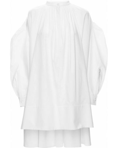 Асимметричное хлопковое белое платье мини Alexander Mcqueen