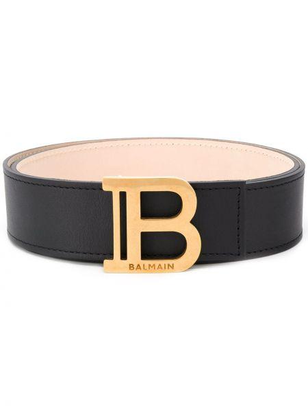 Кожаный черный широкий ремень свободного кроя квадратный Balmain