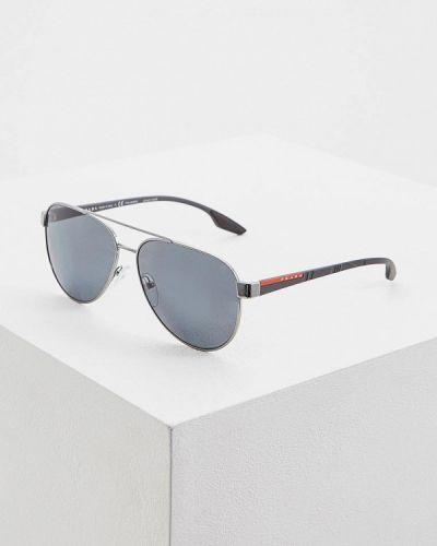 Очки авиаторы солнцезащитные серебряный Prada Linea Rossa