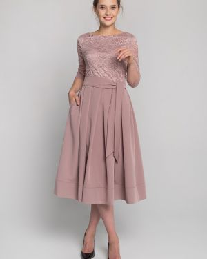 Гипюровое приталенное вечернее платье на молнии с вырезом Sezoni