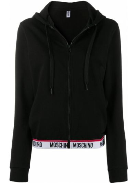 Черный кардиган с капюшоном на молнии Moschino