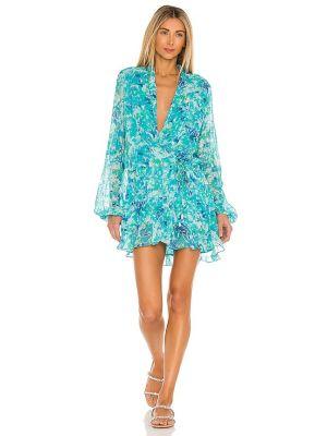 Вечернее платье с вышивкой - синее Rococo Sand