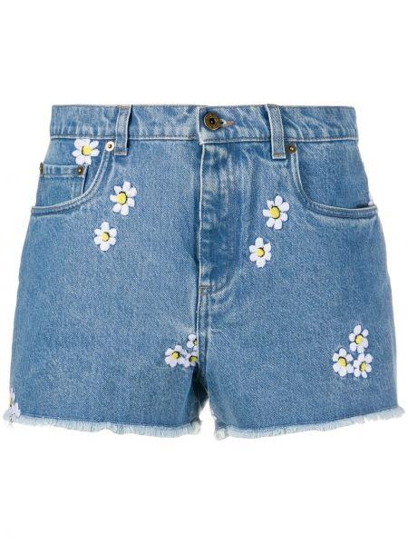 Классические джинсовые шорты с карманами на пуговицах со стразами Miu Miu