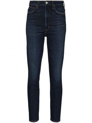 Klasyczne niebieskie jeansy rurki z wysokim stanem Agolde