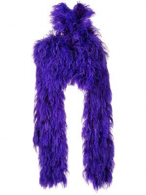 Шелковый фиолетовый топ с перьями с открытыми плечами Christian Siriano
