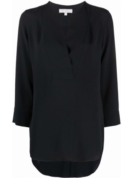 Шелковая черная блузка круглая Antonelli