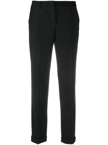 Шерстяные черные укороченные брюки со складками Tonello