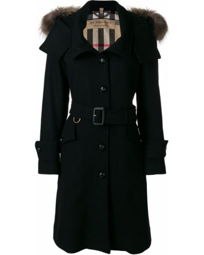 Пальто с капюшоном однобортное с енотом с мехом Burberry