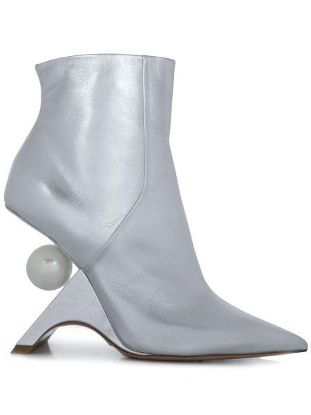 Серебряные кожаные сапоги на молнии Nicholas Kirkwood