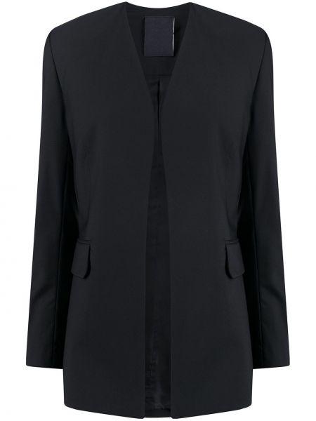 Шерстяной черный удлиненный пиджак с карманами Seen Users