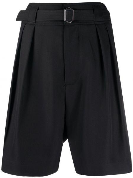 Однобортные черные шорты со складками с высокой посадкой Simon Miller