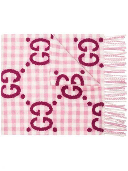 Różowy wełniany szalik przycięte Gucci