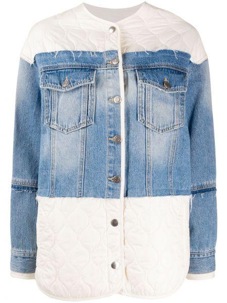 Ватная белая джинсовая куртка с карманами Sjyp