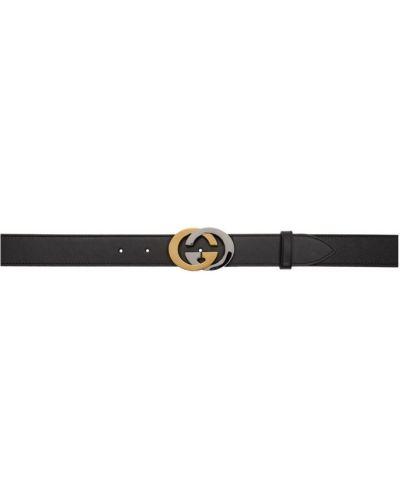 Черный кожаный ремень с поясом Gucci