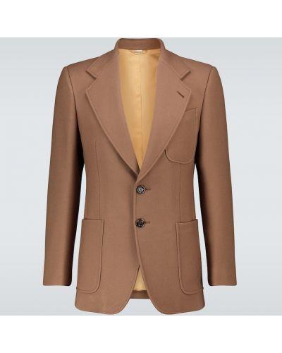Однобортный коричневый пиджак с карманами Gucci