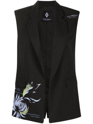Шерстяная черная жилетка с лацканами без рукавов Marcelo Burlon. County Of Milan