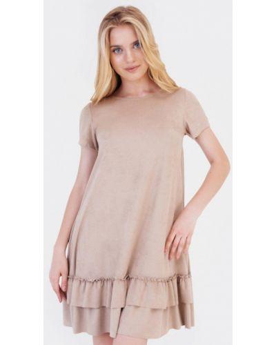 Кожаное бежевое платье Bessa