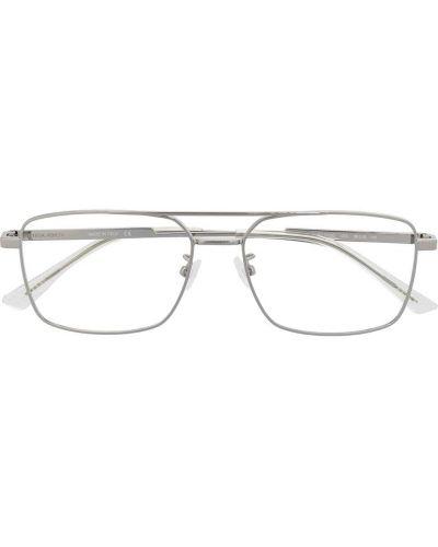 Серебряные очки авиаторы металлические прозрачные Bottega Veneta Eyewear