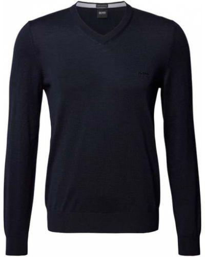 Sweter wełniany - niebieski Boss