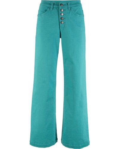 Широкие джинсы стрейч бирюзовый Bonprix