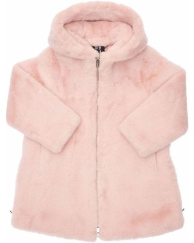Розовое пальто с мехом Bomboogie