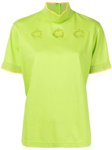 T-shirt bawełniany z haftem krótki rękaw Christian Dior