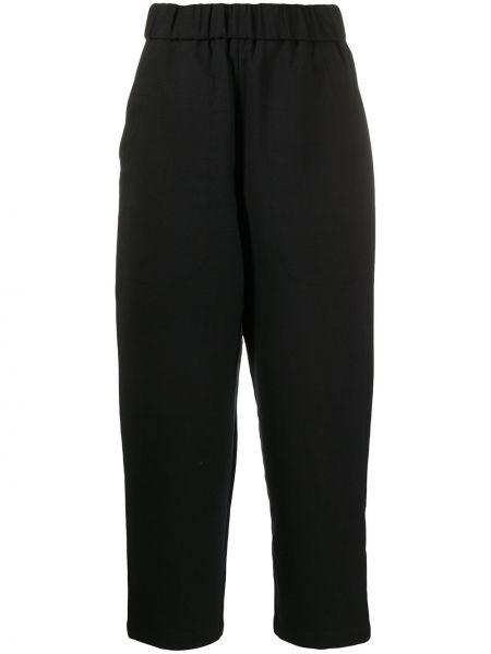 Шерстяные зауженные черные укороченные брюки с поясом Barena