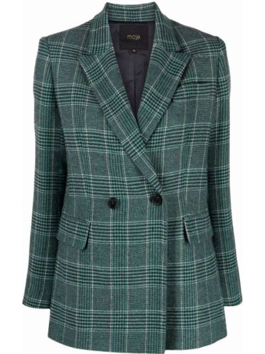 Шерстяной пиджак - зеленый Maje